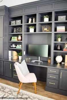 How to Build a Gorgeous DIY Office Built Ins Reveal How to Build a Gorgeous DIY Office Built Ins Reveal Danielle Garcia Home After what feels like years my nbsp hellip Living Room Storage, Office Built Ins, Built In Desk, Interior, Home, Diy Office, Home Office Design, Home Diy, Office Design