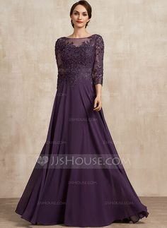 A-Line Scoop Neck Floor-Length Chiffon Lace Mother of the Bride Dress With Sequins - JJ's House Mother Of The Groom Gowns, Formal Dresses, Wedding Dresses, Ball Gowns, Scoop Neck, Chiffon, Sequins, Floor, Lace