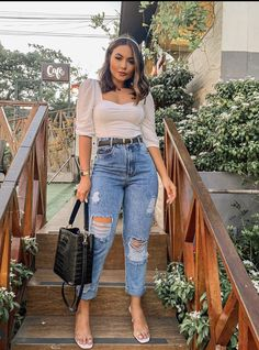 Crop Top Outfits, Basic Outfits, Cute Casual Outfits, Stylish Outfits, Curvy Girl Outfits, Teen Fashion Outfits, Look Fashion, Mode Cool, Look Jean