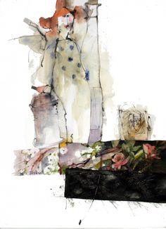 Shirley Trevena - The Opera Singer - Watercolour, Graphite Pencil & Ink - 45 x 33 cm - Watercolor Artists, Abstract Watercolor, Watercolour Painting, Watercolors, Watercolor Trees, Watercolor Portraits, Watercolor Landscape, Abstract Paintings, Art And Illustration