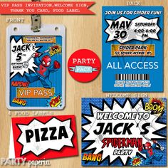 A personal favorite from my Etsy shop https://www.etsy.com/listing/229425924/spiderman-party-pack-vip-invitation