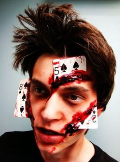 2015 Spooky Halloween joker man face makeup with bloody broken playing card in face - 2015 Halloween makeup ideas by alisson_34