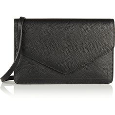 Smythson Panama textured-leather shoulder bag (580 CAD) ❤ liked on Polyvore featuring bags, handbags, shoulder bags, black, black shoulder bag, zipper purse, smythson handbags, smythson and black handbags