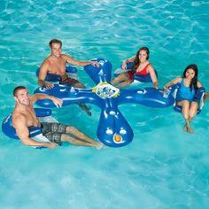 AhhQua Bar - the inflatable Aviva Ahh-Qua Bar with 4 Sun Seats lets everyone stay within reach of the ice chest cooler in the center. Multiple cup holders keep your drinks right where you can reach them as you float in one of four included inflatable lounge chairs.