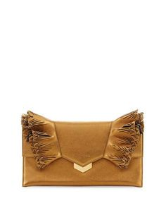 Jimmy Choo Isabella Laser-Cut Ruffled Clutch Bag, Gold