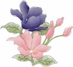 Dark blue flower free embroidery design. Machine embroidery design. www.embroideres.com