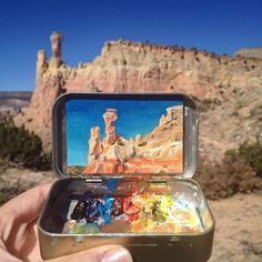 An Artist Paints Tiny Masterpieces Inside Her Empty Altoids Tins - An Artist Paints Tiny Masterpieces Inside Her Empty Altoids Tins Two Years Ago Heidi Annalise Quit Her Government Job In Washington Dc And Returned To Her Home State Of Colorado To Paint O Art Watercolor, Tin Art, Guache, Art Hoe, Mini Paintings, Landscape Paintings, Objet D'art, Painting & Drawing, Artist Painting