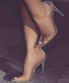 Clear Closed Toe Pumps CLEAR You 39 ll be a modern day Cinderella in this clear heel Features a clear heels and PVC make up Inner shoes features breatheable holes Prom Shoes, Wedding Shoes, Bridal Shoes, Pumps Heels, Stiletto Heels, Gold Heels, Clear Shoes, Clear High Heels, Me Too Shoes