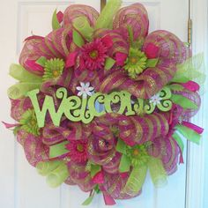 Spring Deco Mesh Wreaths | Deco Mesh Wreath Spring Summer Hot Pink /Lime Plaid Welcome Sign ...