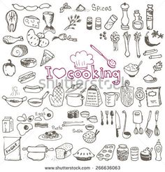 set of hand drawn cooking doodles on white background