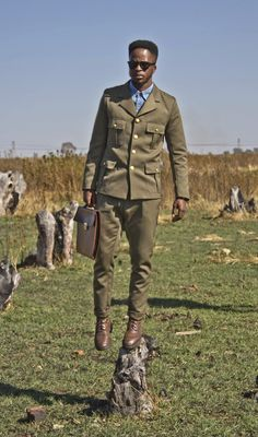 S is a South African style,fashion group that approaches fashion from a urban,vintage and a futuristic perspective. our goal is to use the language of vogue and style to convey our stories. Fashion Shoes, Mens Fashion, Fashion Group, Black Is Beautiful, African Fashion, Dapper, Military Jacket, Vogue, Urban