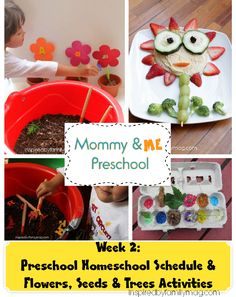 Flowers, Seeds & Trees Activities for kids - Mommy & Me Homeschool Preschool with lesson plans and schedule