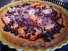 BLUEBERRIES AND PEACHES IN A PECAN PIE CRUST