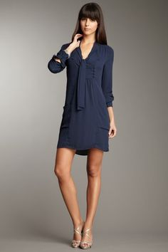 Oxford Blue BCBG MAXAZRIA Serenity Open Neck Dress