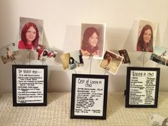 """Dollar store frames, joanne fabric scrapbook paper/glass paint pen/cardholders, tape, pictures, and """"living in 1963"""" fun facts from internet...$15 project made great centerpieces for my moms surprise 50th!!"""