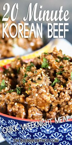 Korean Beef Bowl is a simple dinner recipe that is perfect for busy weeknights. Made with ground beef & pantry staples, it's so quick & easy. Korean Beef Recipes, Korean Beef Bowl, Vegan Recipes, Hamburger Recipes, Savoury Recipes, Quick Recipes, Copycat Recipes, Diet Recipes, Recipies