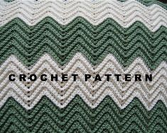Crochet Pattern Ripple Blanket Chevron Afghan Throw by NanaLetha Crochet Afghans, Granny Stripe Crochet, Chevron Afghan, Crochet Ripple Blanket, Crochet Blanket Patterns, Crochet Ideas, Crochet Baby, Free Crochet, Chunky Crochet