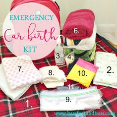"My Top 11 Essential Items for an Emergency Car Birth Kit | The must have list if you have had precipitous labour, a fast labour or just find yourself asking ""What if I give birth on the way to the hospital?"" 