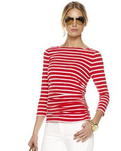 Loving stripes right now. This top in khaki green is amazing.