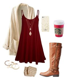 """""""Christmas is in 8 days!!"""" by toonceyb ❤ liked on Polyvore featuring Forever 21, Charlotte Russe, Alex and Ani and Kate Spade"""