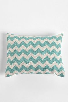Crewel Embroidered Zigzag Pillow - Mint