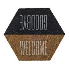 """Start your interior design on your doorstep with a new coir doormat from Bloomingville. With its hexagon shape, it offers a little twist on the classic (and maybe slightly dull) doormat. The Bloomingville doormat greets your guests """"Welcome"""" on the way in, and wishes them """"Goodbye"""" on their way out. Definitely an eye-catcher!"""