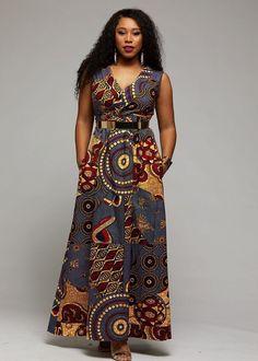 Ayanna African Print Shawl Collar Maxi Dress (Yellow Blue Multipattern) Source by sbenessalah Latest African Fashion Dresses, African Print Dresses, African Dresses For Women, African Attire, African Wear, African Dress Designs, African Style, Dress Fashion, Latest Fashion
