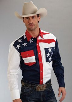 Roper Americana Collection Stars and Stripes Western Shirt - Sheplers Rodeo Shirts, Cowboys Shirt, Western Shirts, Western Apparel, Hot Cowboys, Flag Shirt, Cowboy Outfits, Western Outfits, Western Wear
