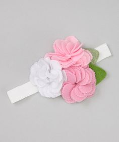 Take a look at this Pink & White Felt Flower Headband on zulily today!