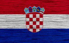 Download wallpapers Flag of Croatia, 4k, Europe, wooden texture, Croatian flag, national symbols, Croatia flag, art, Croatia