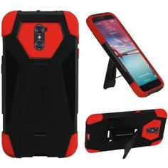 ZTE Zmax Pro Carry Z981 Hard Cover and Silicone Protective Case - Hybrid Black/ Red Transformer With Stand 1