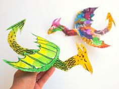 How to Make Colorful and fun, flying paper plate dragons!