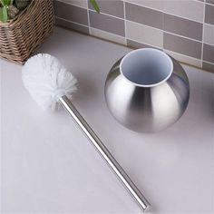 New Stainless Steel Toilet Bowl Brush Holder Set Silver Bathroom Cleaning Tool Toilet Brush Holder With Base Bathroom Product #men, #hats, #watches, #belts, #fashion