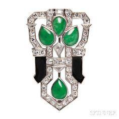 Art Deco Platinum, Jade, and Onyx Brooch
