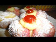 Peschette di Pasta Lievita all'Alchermes - Ricette Dolci fatti in casa - YouTube Croissant, Pasta, Doughnut, Pudding, Eggs, Video, Cooking, Breakfast, Desserts