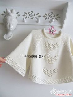 """Discover thousands of images about Pullover poncho """"Hearts"""" Knitting For Kids, Baby Knitting Patterns, Baby Cardigan, Baby Sweaters, Crochet Yarn, Pulls, Baby Dress, Nail Ideas, Google Translate"""