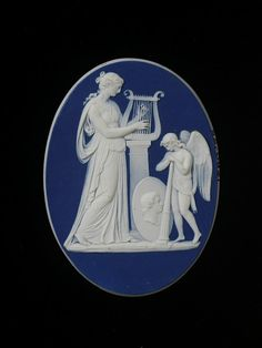 Cameo -- White Jasperware With Blue Dip And Applied White Bas-Relief, Staffordshire, England  c. 1780-1800