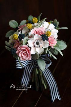 Items Similar To Nautical Wedding Bouquet Beach Keepsake Bridal With Anemones Blueberries Craspedias And Roses Ready Ship On