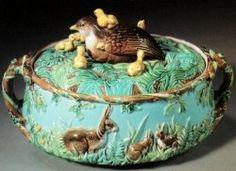 G Jones majolica quail  game tureen Majolica pottery archive   Majolica.info