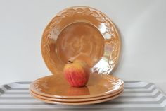Vintage Laurel Peach Lustre Plates 9 inch dinner by MossAndBerry, $32.00