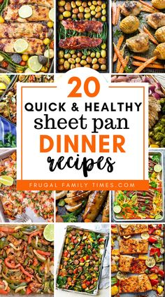 Quick, easy and healthy sheet pan dinners. A roundup of 20 family friendly and simple recipes. Chicken, Fish, Pork chops and more. Baked and delicious. Frugal Family, Easy Family Meals, Quick Easy Meals, Easy Dinner Recipes, Simple Recipes, Healthy Recipes, Family Recipes, Amazing Recipes, Ramen Recipes