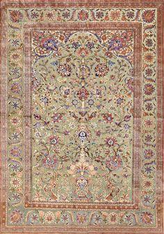 Antique Silk Persian Kashan Carpet 48250 Detail/Large View - By Nazmiyal