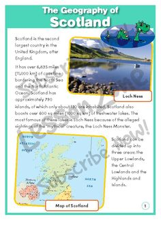 This informational text, 'The Geography of Scotland' features factual information about the geography of Scotland. It is aimed at broadening students' geographical awareness of the country in providing a summary of key concepts with engaging images.