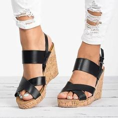 7510061349a Large Size Adjustable Buckle Cross Wedge Sandals
