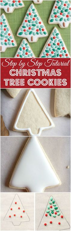 A step by step tutorial showing you how to make these delightful Christmas tree cookies! | gluten free | royal icing | dairy free |