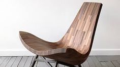 BELLBOY, a collaborative wood shop based in Brooklyn, made a lounge chair from the reclaimed timber of a New York City water tower. Design Furniture, Chair Design, Modern Furniture, Modern Wood Chair, Geometric Furniture, Natural Furniture, Italian Furniture, Furniture Chairs, Bespoke Furniture