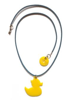 Bubba the Duck necklace for kids in yellow acrylic on blue suede cord Cool Necklaces, Blue Suede, Cord, Pendant Necklace, Yellow, Kids, Jewelry, Jewellery Making, Electrical Cable