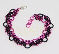 Stepping Stones Chainmaille Brac - AA-PInk_Black - 202D