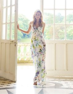 Floral Silk Maternity Maxi Dress Style