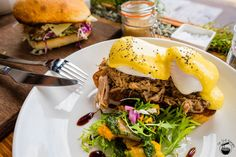 Pulled pork eggs benedict w/seasonal veggie salad ($17) @John Smith Specialty Cafe, Waterloo via Im Still Hungry
